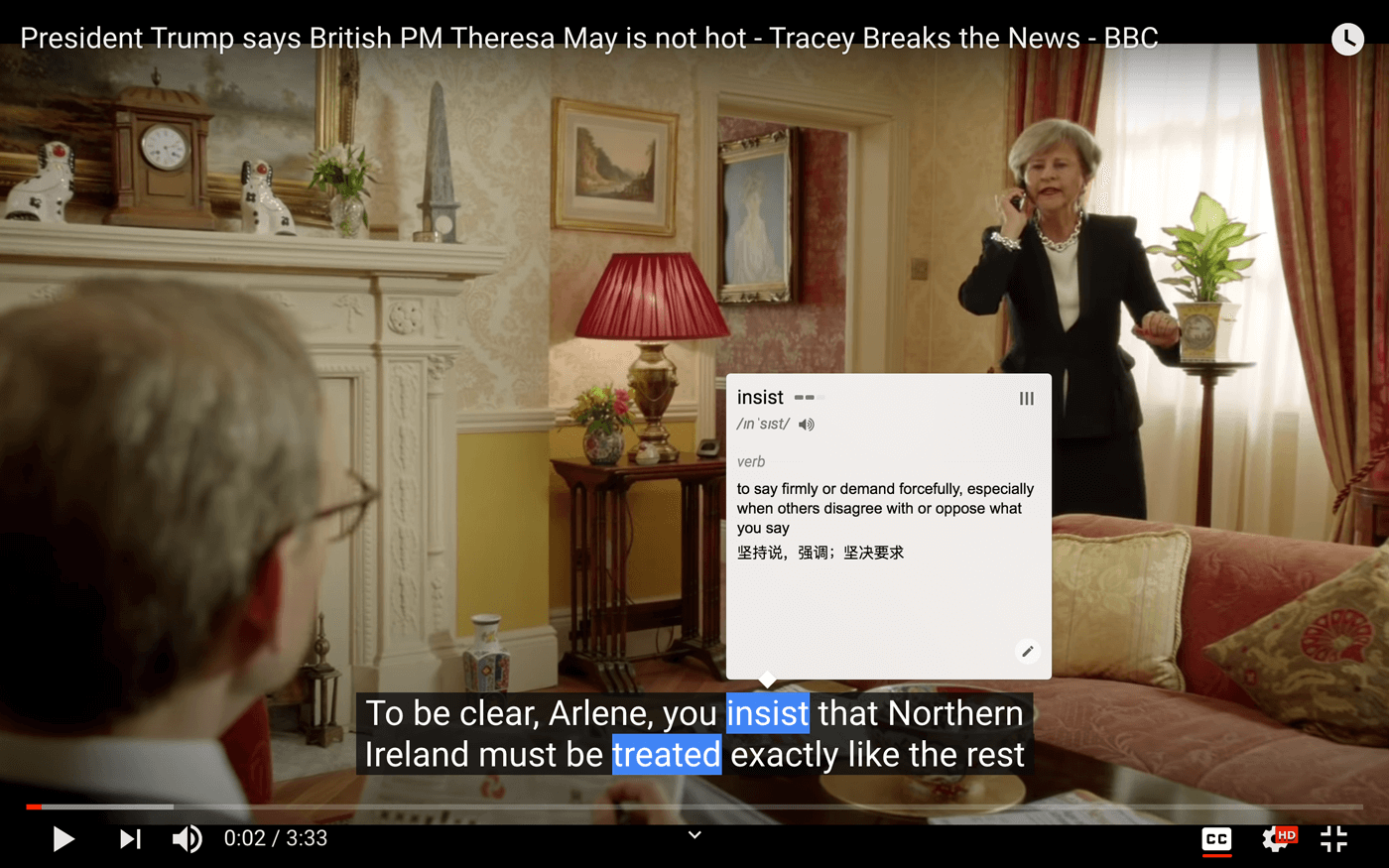 Mark the words on the Youtube videos' subtitles/CC