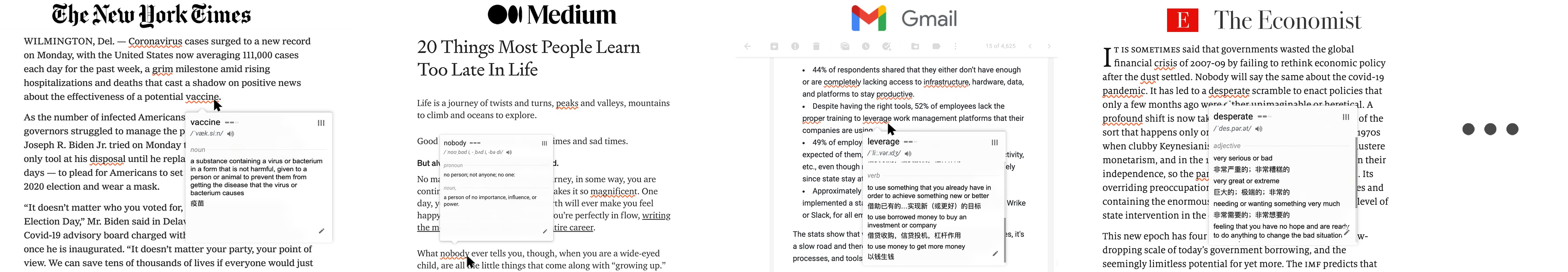 highlight words on The New York Times, Gmail, Medium, etc.